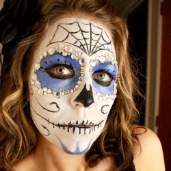 sugar skull face paint tutorial - Skeleton Face Paint For Halloween