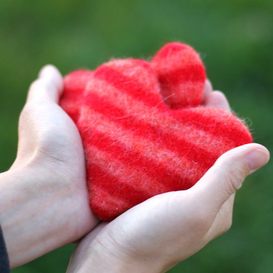 Upcycled Heart Handwarmers