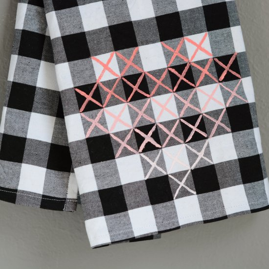 Painted Cross Stitch Heart Towel