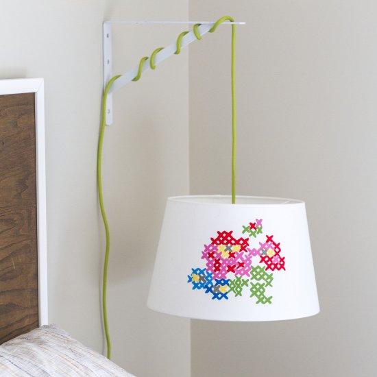 Lamp shade gallery craftgawker diy painted cross stitch lamp shade mozeypictures Images
