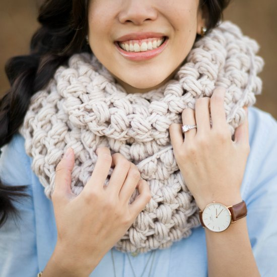 Jumbo Puff Stitch Cowl All About Ami