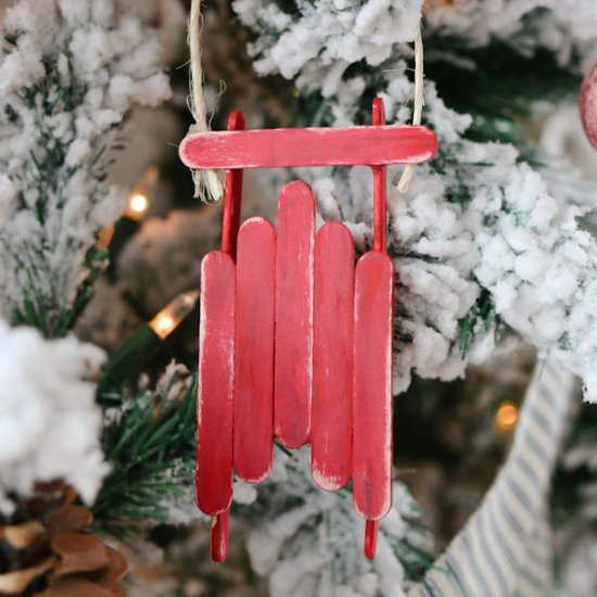 Popcycle Stick Sled Ornament