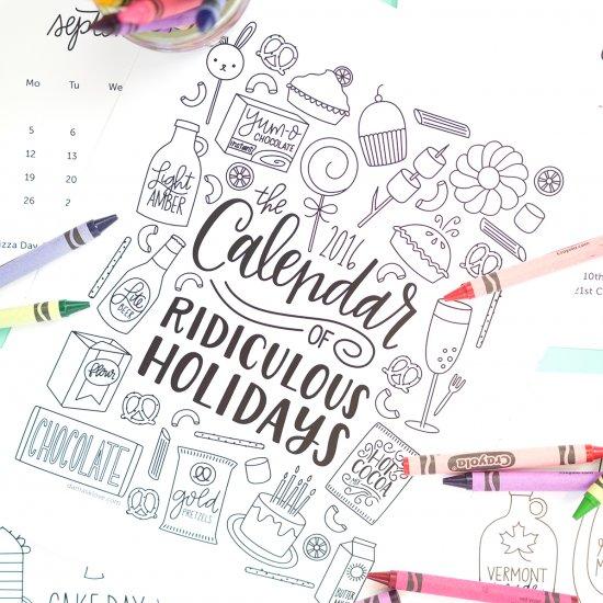 printable coloring calendar | craftgawker