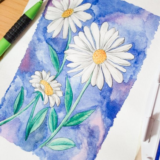 Daisy Watercolor Painting Tutorial