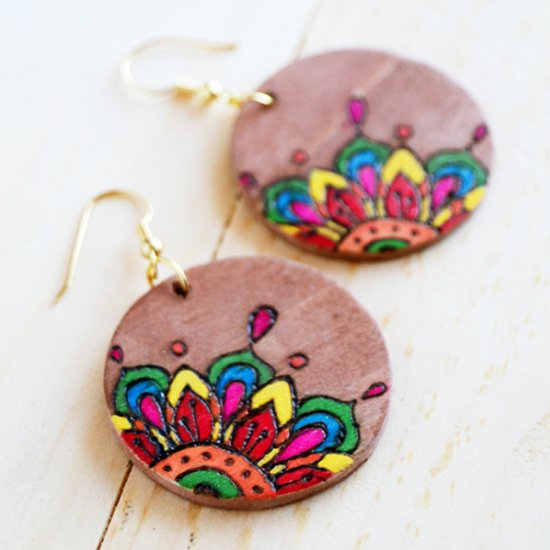 Coloring Book Woodburned Earrings