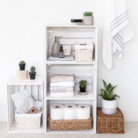 Diy Crate Shelves Bathroom Organize Craft Gawker Bloglovin