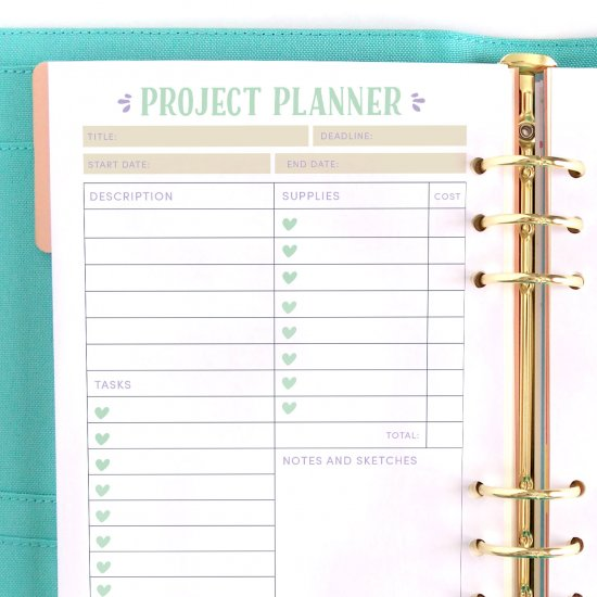 Free Printable Project Planner Page Craftgawker