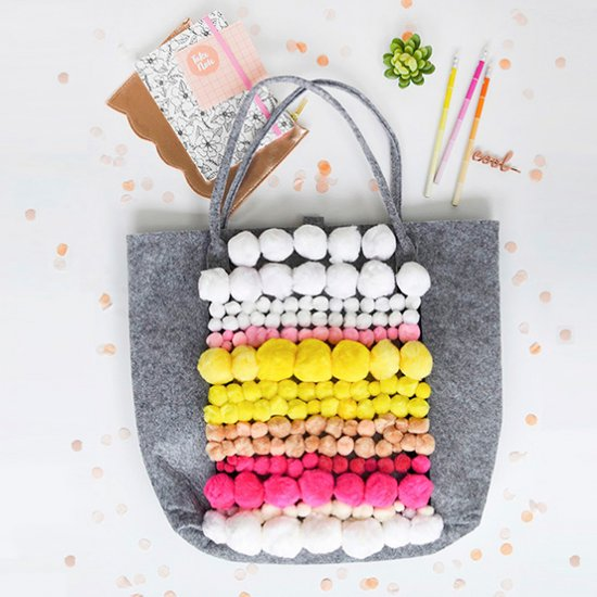 Pom Pom Patterned Tote Bag