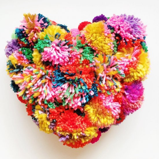 The Cutest Colorful Pompom Pillow