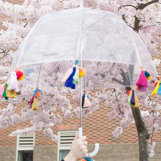 boho pom pom + tassel umbrella