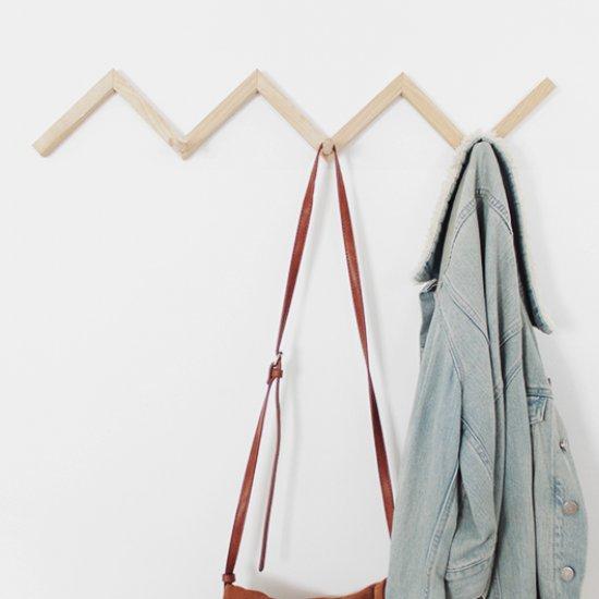 DIY zig zag coat rack