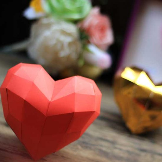 DIY paper 3D heart, free template