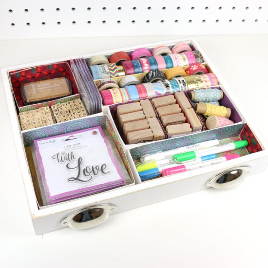 DIY stationery desk organisation