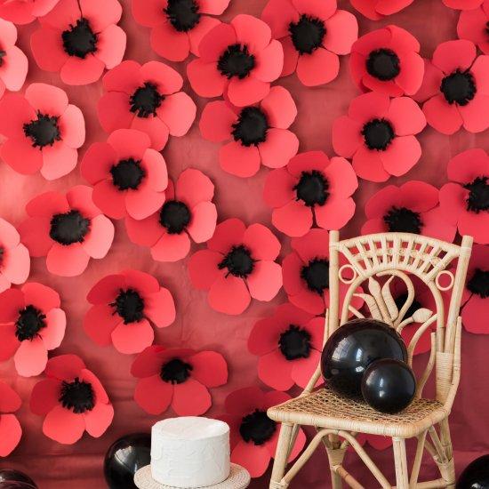 Paper poppy backdrop