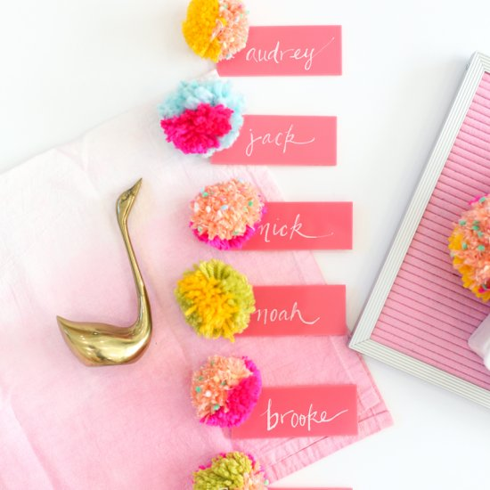 DIY Acrylic and Pompom Escort Cards