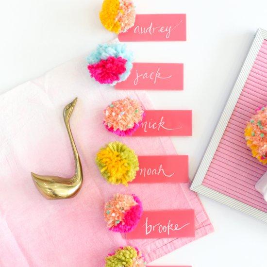 DIY Acrylic and Pompom Escort Cards