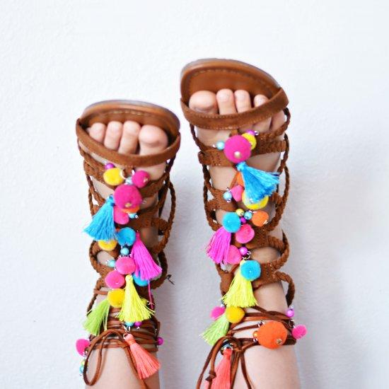 Pom Pom Tassle Sandals