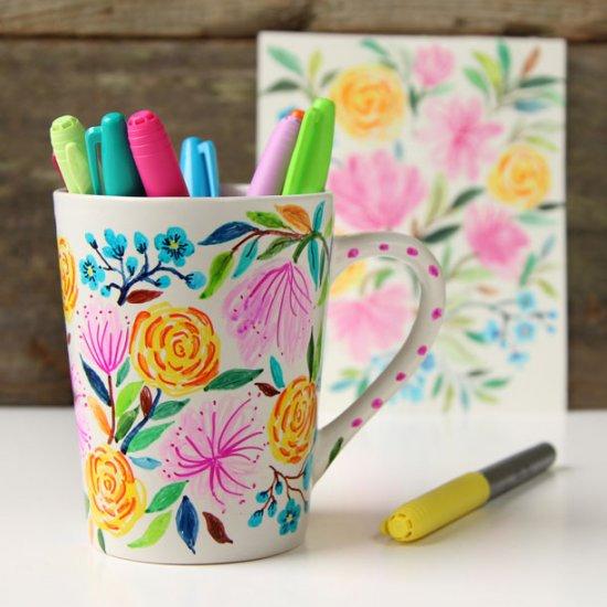 watercolor flower sharpie mug DIY