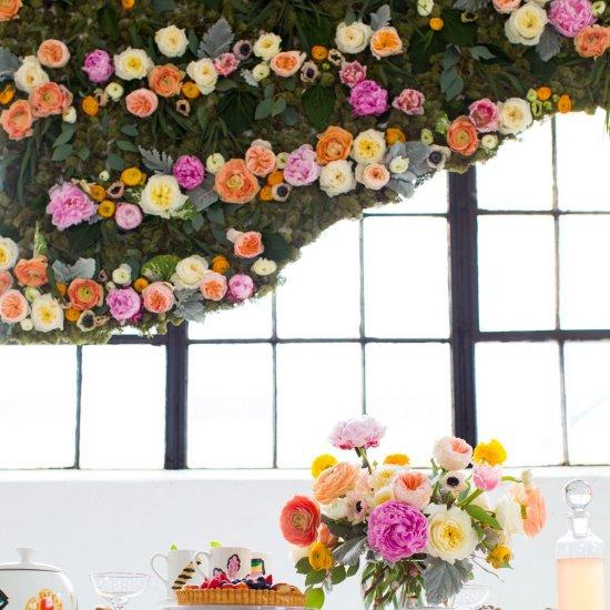 DIY Hanging Flower Wall Install