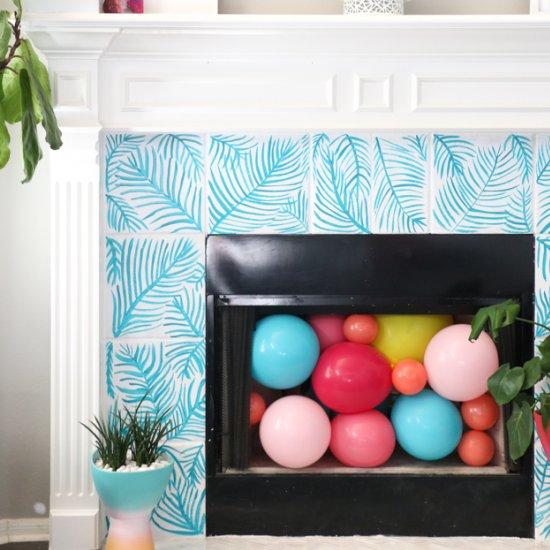 Palm Leaf Tile Fireplace Surround