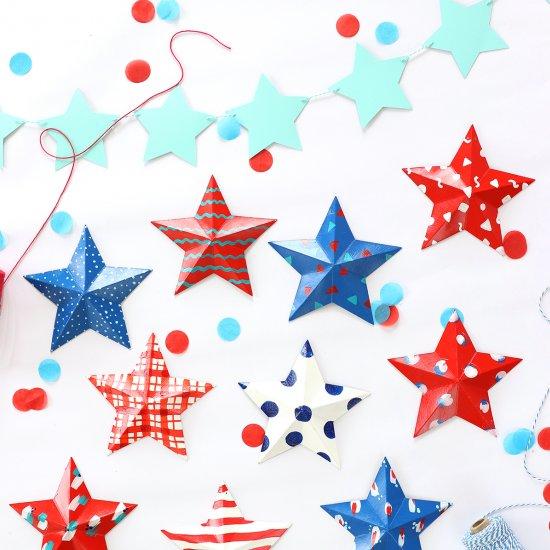 Modern Patriotic Painted 3D Stars