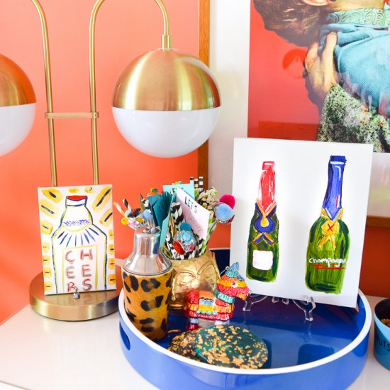 Boozy Bottles Bar Cart Art DIY