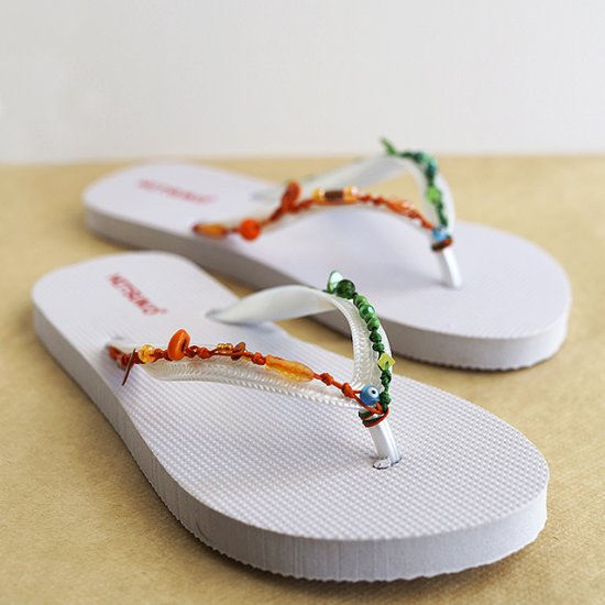 Colorful beads flip flops