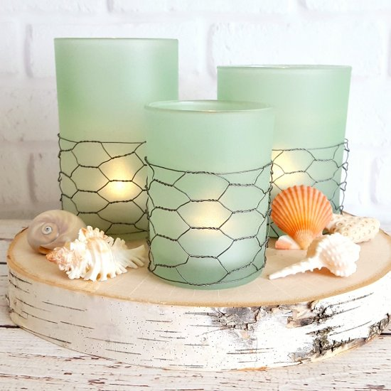 Coastal Farmhouse Seaglass Candles