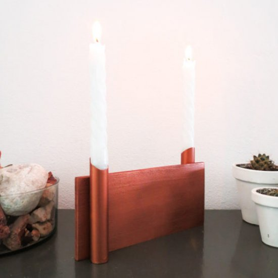 DIY DUAL COPPER CANDLE HOLDER