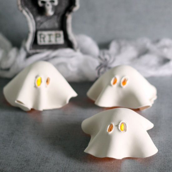 clay ghost tea lights