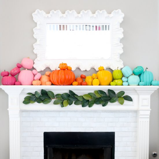 Rainbow Pumpkin Mantel