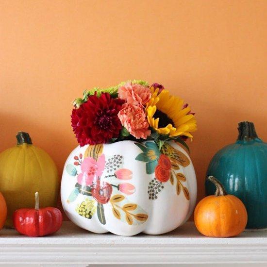 DIY Floral Pumpkin Vases