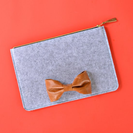 Leather Bow Clutch
