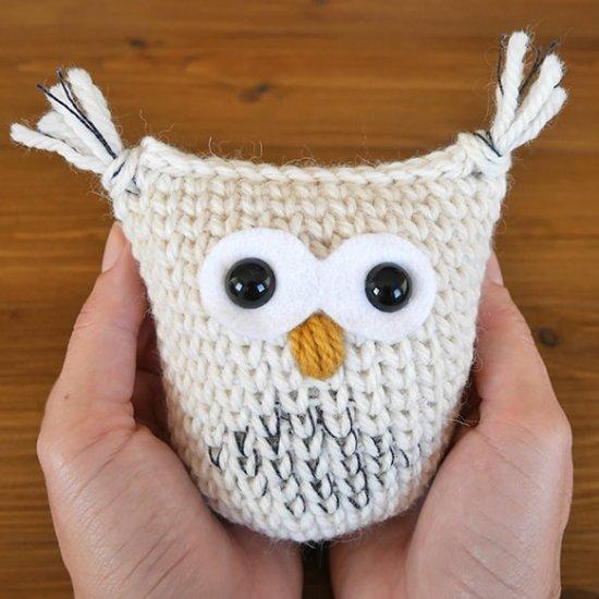 Crochet snow owl christmas ornament