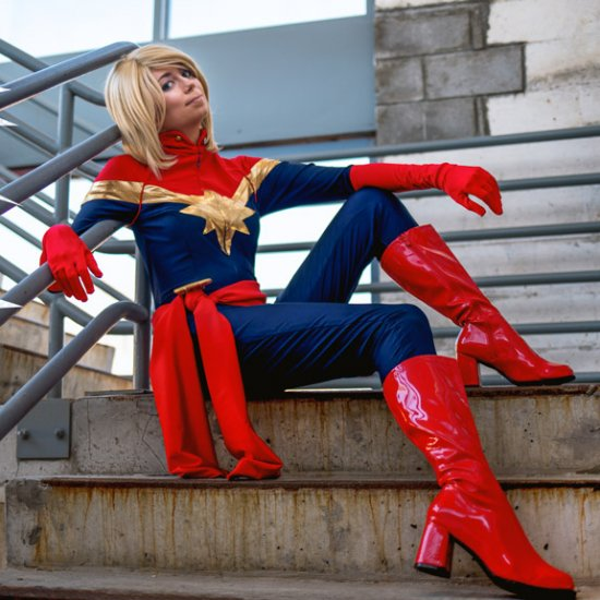 Captain Marvel Cosplay Tutorial Craftgawker Marvel carol danvers cosplay costume components jumpsuit,gloves,cuffs,shoes covers,vest,belt, mask materials leather,knit fabric tips 1.please note the wig of mask is soft, you need to make a style by yourself.;2.pls check size carefully before order.if it. captain marvel cosplay tutorial
