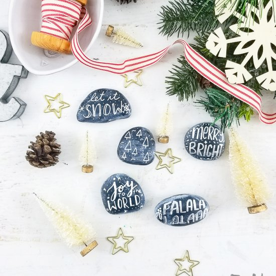 chalkboard christmas painted rocks