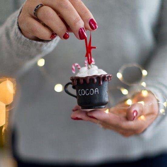 Adorable cocoa mug ornament