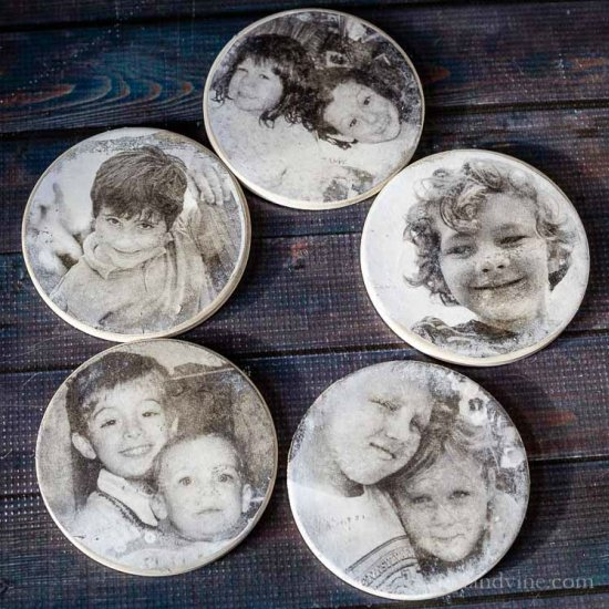 DIY Family Photo Coasters
